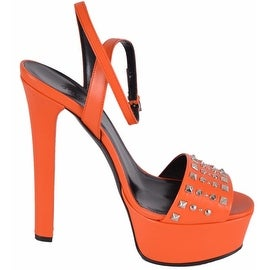 Gucci Women's Orange Leather Studded Leila Platform Sandals Shoes 39 9
