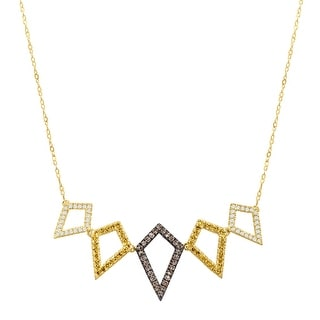 3/8 ct Brown, Yellow & White Diamond Geometric Garl& Necklace in 10K Gold