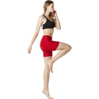 "Tesla FYP11 Women's 7"" Bike Running Yoga Compression Shorts - Red"