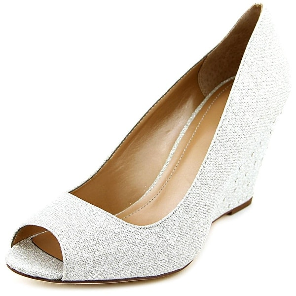 Style & Co Cecelie Women Open Toe Canvas Silver Wedge Heel