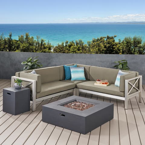 La Vista Outdoor Modern 5 Seater V-Shaped Sectional Sofa Set with Fire Pit and Tank Holder by Christopher Knight Home