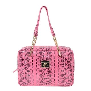 Versace Collection Reptile Pattern Leather Satchel Handbag - Pink - S