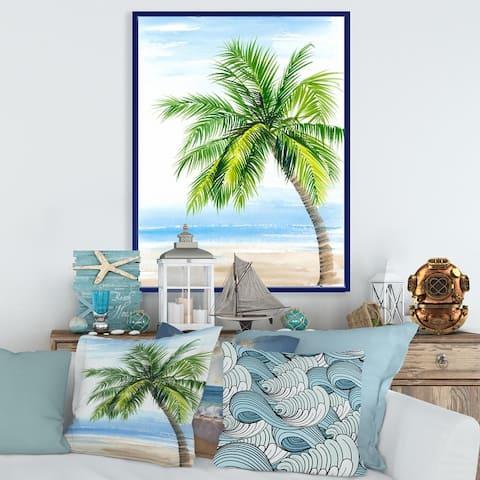 Designart 'Palm Tree At The Beach Resort' Nautical & Coastal Framed Canvas Wall Art Print