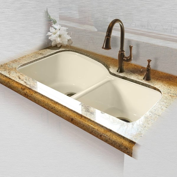 miseno mci68 4um 33 double basin undermount cast iron kitchen sink - Cast Iron Kitchen Sinks