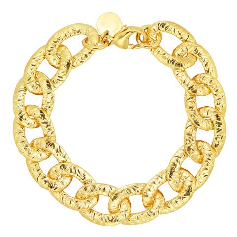 Bronzoro 18 k Gold Plated Women's Large Link with CZ Bracelet