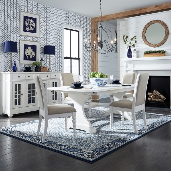 Harbor View II White Opt 5-piece Trestle Table Dining Set. Opens flyout.