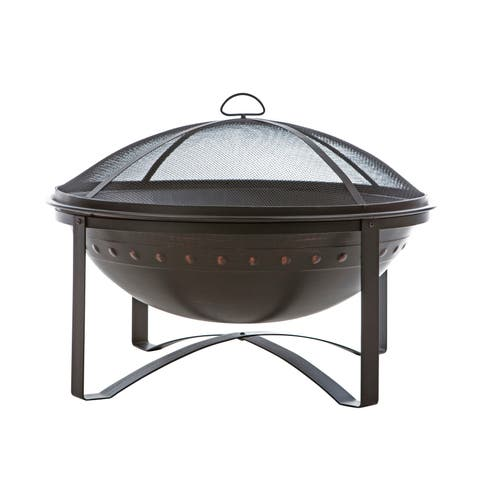 """Fire Sense 62332 Highland 29"""" Wide Circular Free Standing Wood Burning Steel Firepit with Screen Lift Tool - - Brushed Bronze"""