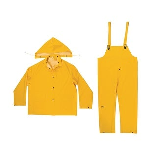 CLC R102L 3 Piece Heavyweight PVC Rain Suit, Yellow, Large