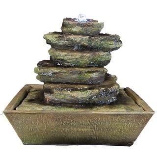 Sunnydaze Cascading Rocks Tabletop Fountain with LED Lights 12 Inch Tall