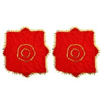 Unique Bargains Gold Tone Leaves Hem Red Dancing Handkerchief 2 Pcs