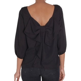 Humble Chic Bow Back Blouse - Long Sleeve Chiffon Top Backless Tunic Shirt