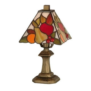 """11"""" Antique Brass Luscious Jewel Cherry Fruit Hand Crafted Glass Mini Table Lamp"""