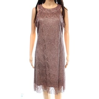 S.L. Fashions NEW Pink Women's Size 12 Sheath Shimmer Lace Dress