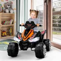 Kidzone 12V Battery Powered Ride On ATV Quad, Electric Led Headlights Toy Car for Kids 3-6 Years Old, Orange