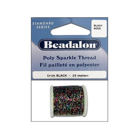 Beadalon Poly Sparkle Thread 1mm 15m Blk