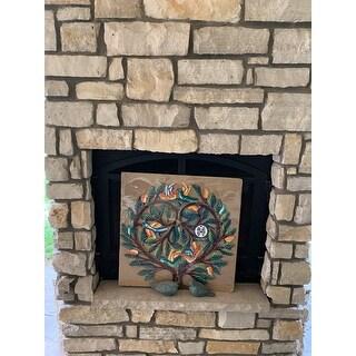 Handmade 24-inch Painted Tree of Life Heart Metal Wall Art (Haiti)