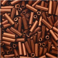 Czech Glass Bugle Beads, Cylinder Size 3 '7mm', 24 Gram Tube, Matte Copper