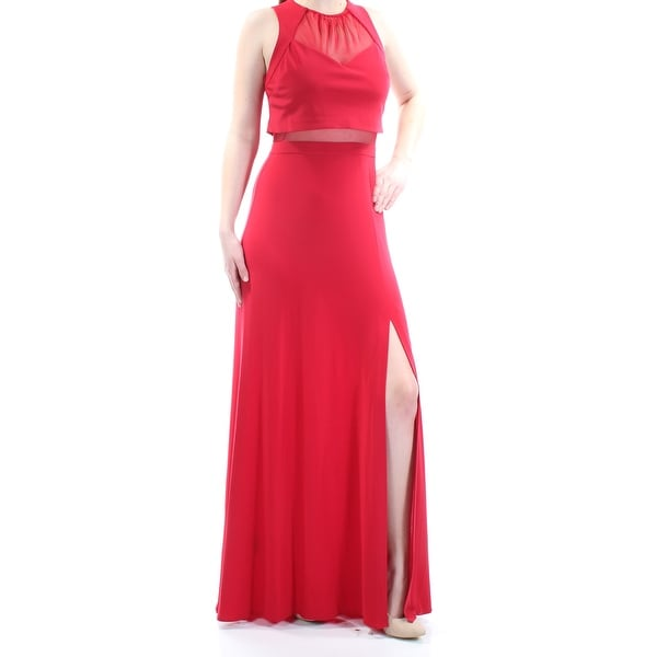 NW WOMEN $99 Womens New 1023 Red Slitted Illusion Waist Sheath Dress 8 B+B