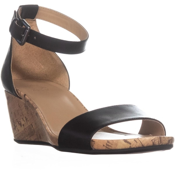 naturalizer Cami Ankle Strap Wedge Sandals, Black Leather