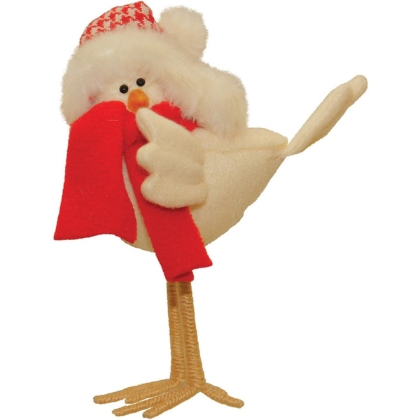 """8.25"""" Standing Cream Colored Bird with Scarf and Hat Tabletop Decoration"""