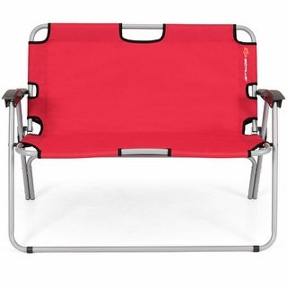2 Person Folding Camping Bench Portable Double Chair Red