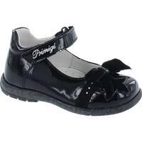 Primigi Girls 8013 Fashion Designer Dress Flat Shoes With Bow - vernice nero