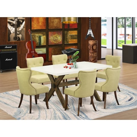 X726SI737-5 5-Piece Dinette Set- 4 Dining Chairs with Limelight Linen Fabric Seat and Button Tufted Chair Back