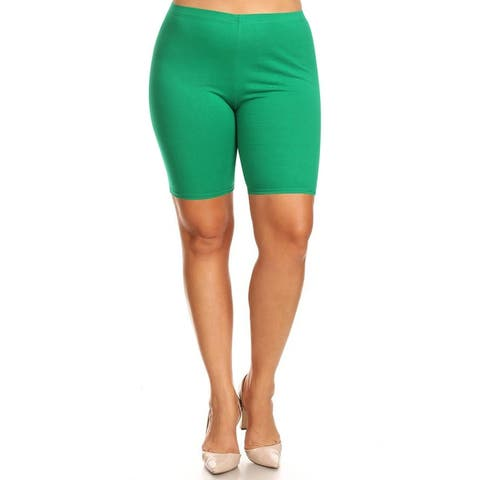 Women's Plus Size High Wiast Yoga Gym Solid Biker Short Pants