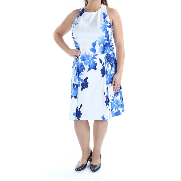 862dca7ae1c66 Womens Blue Floral Sleeveless Knee Length Dress Size: 16
