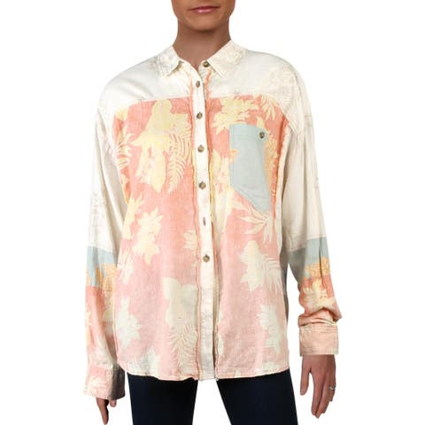 We The Free Womens Chasing Waves Button-Down Top Linen Floral Print - Perpetual Sunset Combo - L
