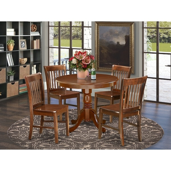 Round 36 Inch Table and Wood Seat Chairs Kitchen Set in Mahogany Finish (Number of Chairs Option). Opens flyout.