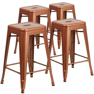 "Link to 4 Pack 24""H Backless Metal Indoor-Outdoor Counter Height Stool w/Square Seat Similar Items in Dining Room & Bar Furniture"