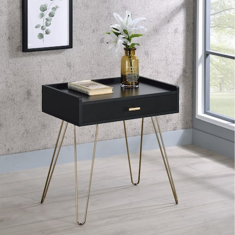Hailey Black and Gold Wood Storage End Table
