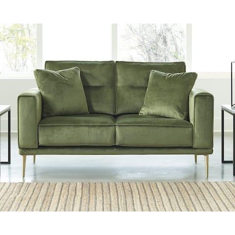 Macleary Mid Century Modern Green Loveseat