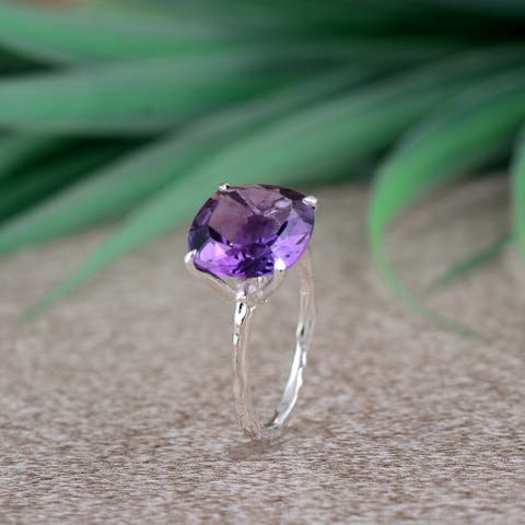 Amethyst Sterling Silver Cushion Solitaire Ring by Orchid Jewelry