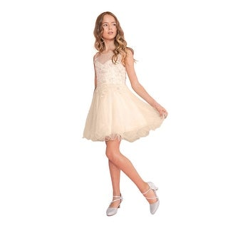 Calla Collection Girls Champagne Lace Illusion Short Party Tween Dress