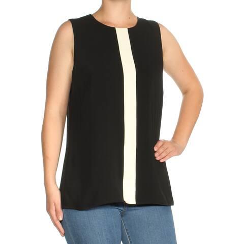 Ralph Lauren Womens Black Color Block Sleeveless Jewel Neck Top Size: M