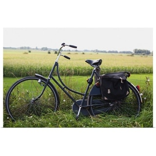 """""""a bike resting along a fence in the countryside"""" Poster Print"""
