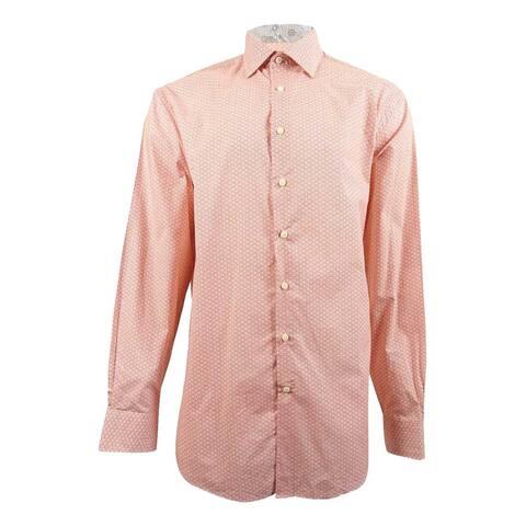 Tallia Men's Big and Tall Floral Medallion Contrast-Cuff Shirt (XLT, Melon) - Melon - XLT