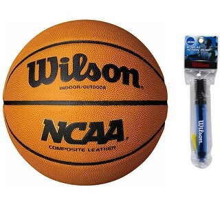 Wilson Intermediate Size 28.5'' NCAA Composite Basketball w/ 6'' Inflation Pump