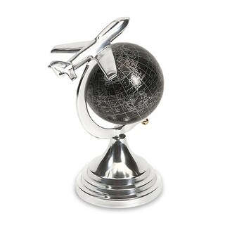 "9.5"" Small Decorative Black Globe with Polished Aluminum Airplane and Base"