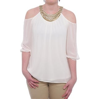 Thalia Sodi Embellished Cold-Shoulder Chiffon Blouse Women Regular Blouse