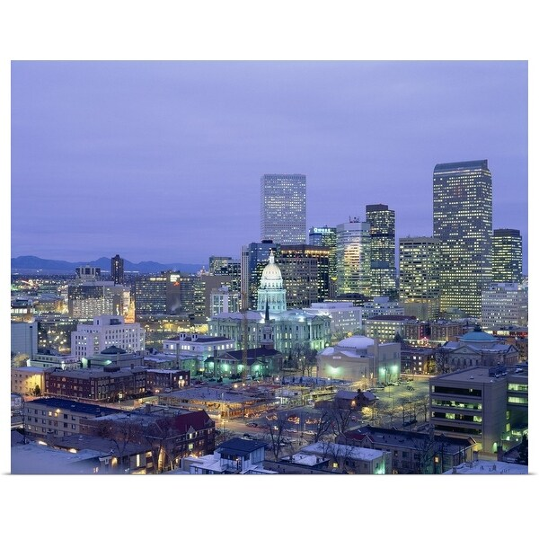 """High angle view of the State Capitol Building and downtown, Denver, Colorado"" Poster Print"