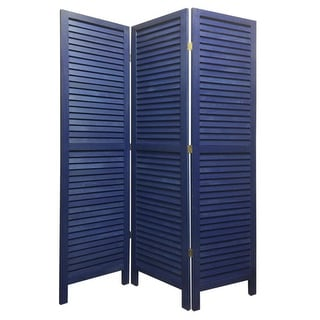 Link to 3 Panel Foldable Wooden Shutter Screen with Straight Legs, Blue Similar Items in Decorative Accessories