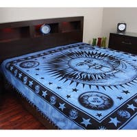 Handmade Cotton Heavy Celestial Mandala Sun Moon Star Tapestry Spread 84x96 Blue Gold Green