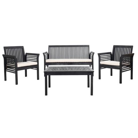 Safavieh Outdoor Living Carson 4 Pc Outdoor Set - Black / White