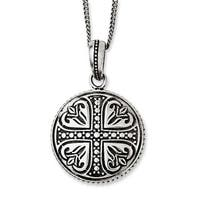 Chisel Stainless Steel Polished & Antiqued Cross Circle 22in Necklace (2 mm) - 22 in