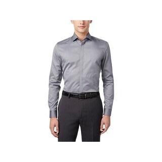 Calvin Klein Mens Button-Down Shirt Jacquard Pattern - M