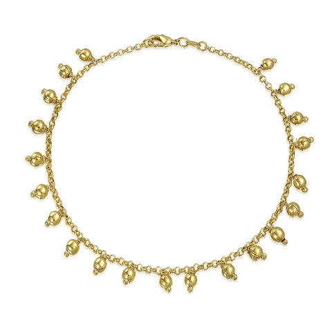 Bling Jewelry 18K Gold Plated Brass Anklet 5mm Dangling Beads Ankle Bracelet 10in