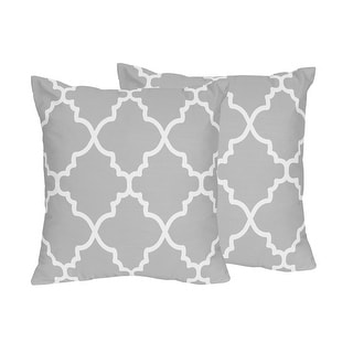 Link to Sweet Jojo Designs Trellis Collection Grey and White Lattice Print Throw Pillows (Set of 2) Similar Items in Decorative Accessories